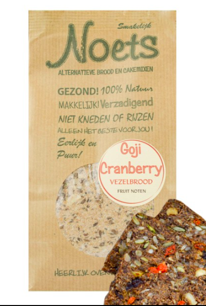 Noets Goji-Cranberry koolhydraat arme Vezelbroodmix 500 Gram